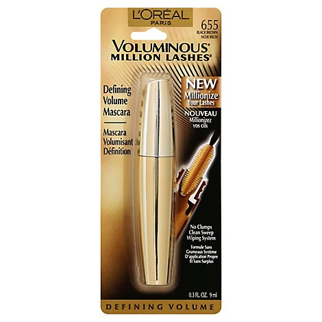 LOreal Mascara Voluminous Million Lashes Black Brown 635 - .3 Fl. Oz.