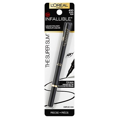 LOreal Eyeliner Infallible Never Fail Liquid The Super Slim 12HR Black 400 - 0.01 Oz