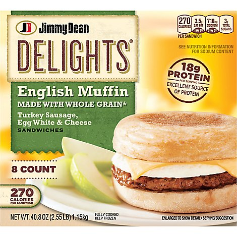Jimmy Dean Delights Turkey Sausage Egg White & Cheese English Muffin Sandwiches 8 Count