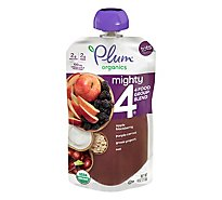 Plum Organics Organic Tots Mighty 4 Puree Apple Blackberry Purple Carrot Greek Yogurt Oat - 4 Oz