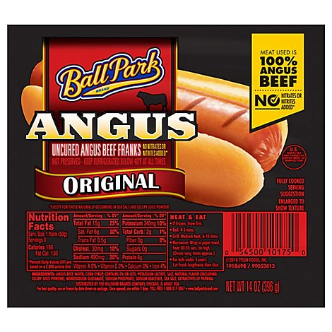 Ball Park Angus Beef Hot Dogs Original Length 8 Count