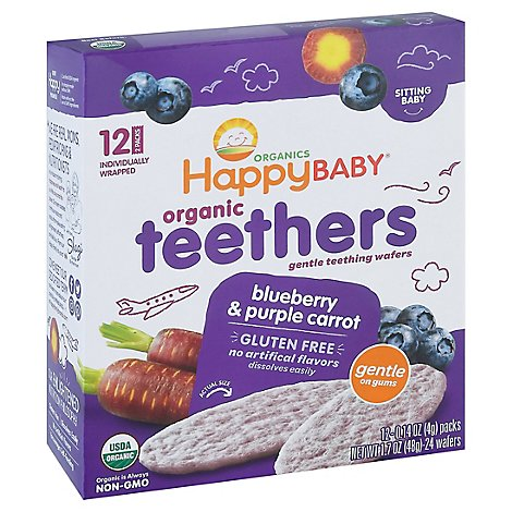 Happy Baby Organics Gentle Teething Wafers Blueberry & Purple Carrot - 12-0.14 Oz