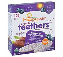 Happy Baby Organics Organic Gentle Teething Wafers Blueberry & Purple Carrot - 12-0.14 Oz