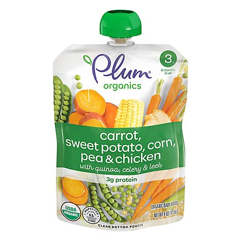 Plum Organics Organic Baby Food 3 (6 Months & Up) Carrot Sweet Potato Corn Pea & Chicken - 4 Oz