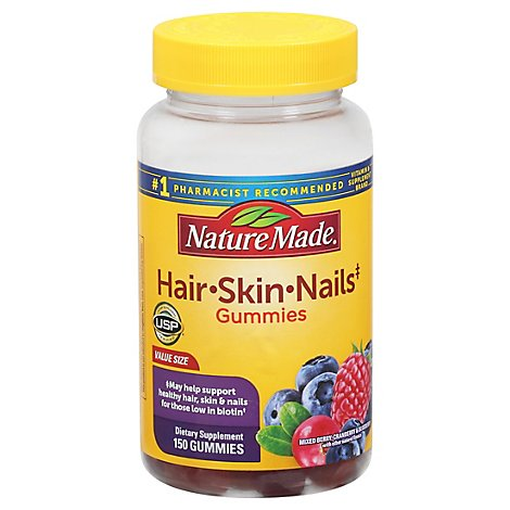 Nature Made Adult Gummies Hair Skin Nails Mixed Berry Cranberry & Blueberry - 150 Count