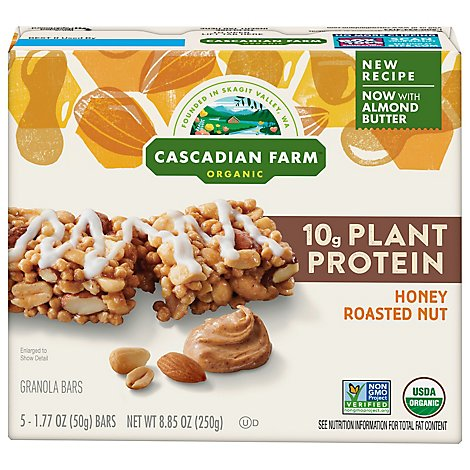 Cascadian Farm Organic Protein Bars Chewy Honey Roasted Nut - 5-1.77 Oz