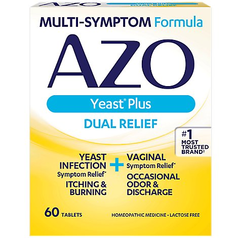AZO Yeast Plus Yeast Infection And Vaginal Relief Tablets - 60 Count