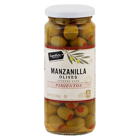 Signature SELECT Olives Manzanilla Stuffed With Pimiento Jar - 7 Oz