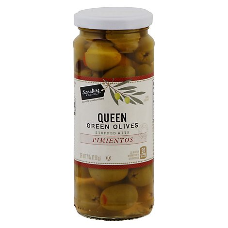 Signature SELECT Olives Queen Stuffed With Pimiento Jar - 7 Oz