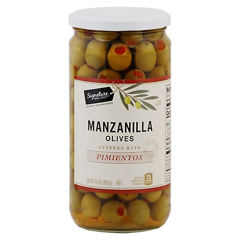 Signature SELECT Olives Manzanilla Stuffed With Pimiento Jar - 14 Oz