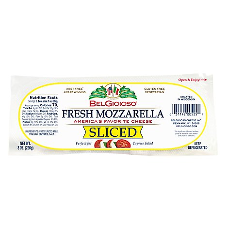BelGioioso Cheese Mozzarella Fresh Sliced - 8 Oz