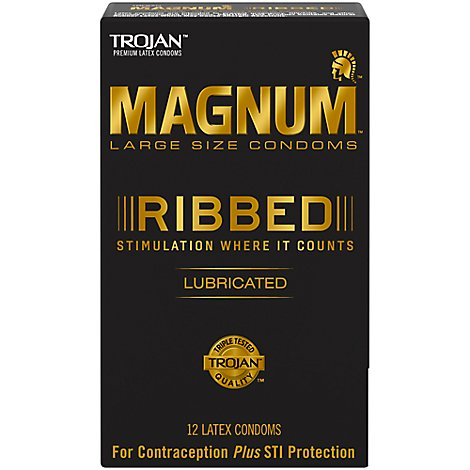 Trojan Magnum Ribbed Lubricated Large Size Condom - 12 Count