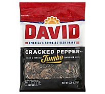 DAVID Sunflower Seeds Jumbo Roasted & Salted Cracked Pepper Flavor - 5.25 Oz