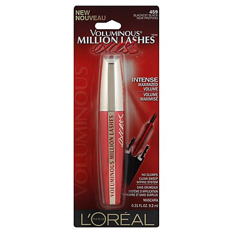 LOreal Mascara Voluminous Million Lashes Excess Blackest Black 459 - 0.31 Oz