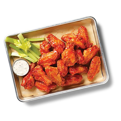Deli Catering Tray Buffalo Chicken Wings With Garnish Tray 8 Inch