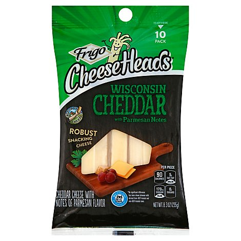 Frigo Cheese Heads Premium Snacking String Cheddar Cheese With Parmesan - 10-0.83 Oz