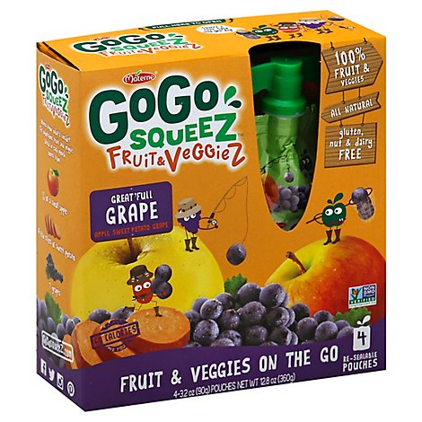 GoGo squeeZ Fruit & VeggieZ Apple Sweet Potato Grape - 4-3.2 Oz