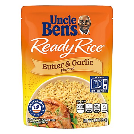 Uncle Bens Ready Rice Butter & Garlic Flavored Pouch - 8.8 Oz