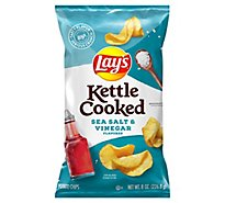 Lays Potato Chips Kettle Cooked Sea Salt & Vinegar - 8 Oz
