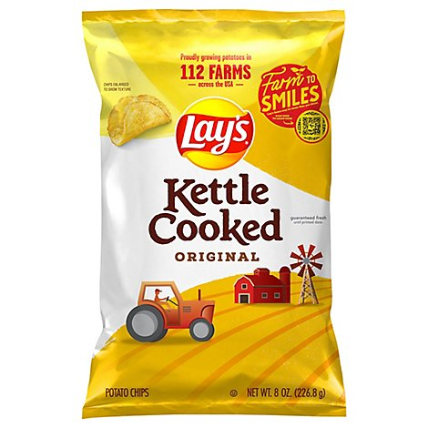 Lays Potato Chips Kettle Cooked Original - 8 Oz
