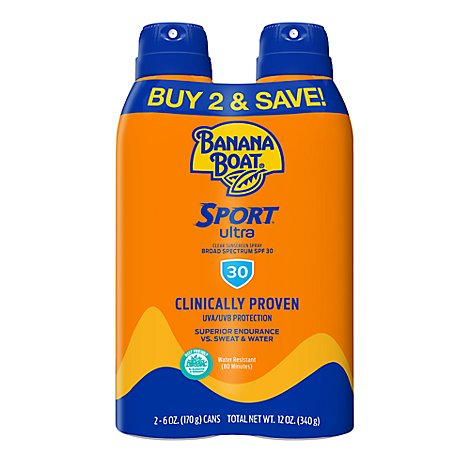 Banana Boat Ultra Sport Sunscreen Spray Clear Broad Spectrum SPF 30 Twin Pack - 2-6 Oz