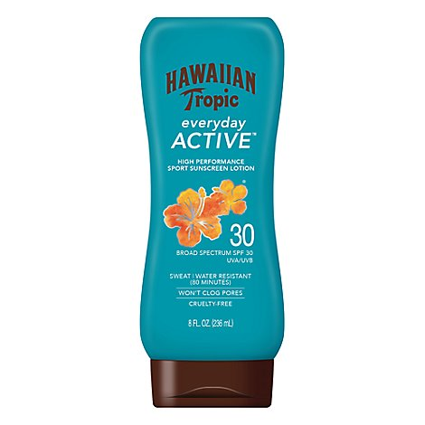 Hawaiian Tropic Island Sport Sunscreen Lotion Light Tropical Scent SPF 30 - 8 Fl. Oz.