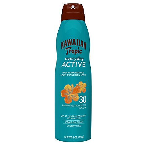 Hawaiian Tropic Island Sport Sunscreen Spray Clear Light Tropical Scent SPF 30 - 6 Oz