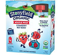 Stonyfield Farm Organic YoTot Yogurt Pouch Whole Milk Strawberry Beet Berry - 4-3.7 Oz