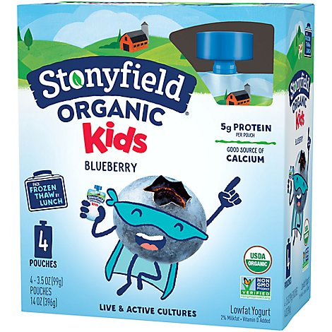 Stonyfield Farm Organic YoKids Squeeze! Yogurt Blueberry - 4-3.7 Oz