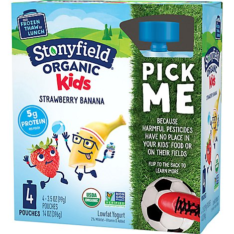 Stonyfield Organic Kids Yogurt Strawberry Banana - 4-3.7 Fl. Oz.
