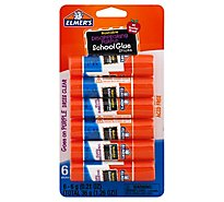 Elmers School Glue Sticks Washable Disappearing Purple - 6 Count