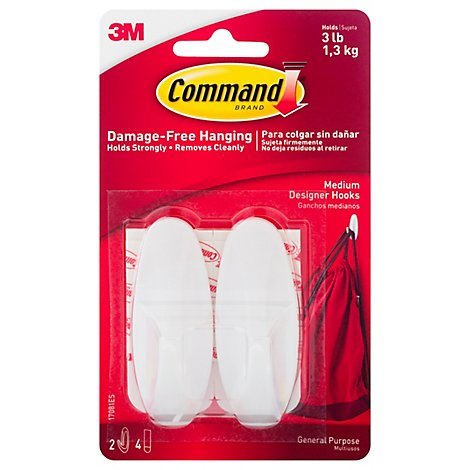 Command Medium White Designer Hooks - 2 Count