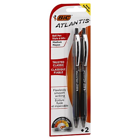Bic Pens Ball Atlantis Retractable Medium 0.7 mm Black Ink - 2 Count