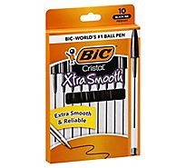 BIC Ball Pens Cristal Xtra Smooth Medium 1.0 mm Black Ink - 10 Count