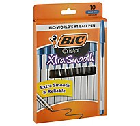 BIC Ball Pens Cristal Xtra Smooth Medium 1.0 mm Blue Ink - 10 Count