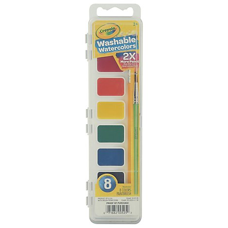 Crayola Paint Watercolors Washable With Paint Brush - 8 Count