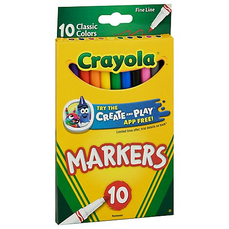 Crayola Markers Fine Line Classic Colors - 10 Count