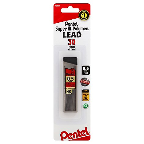 Pentel Lead Refill Super Hi-Polymer 0.5 Mm Fine Hb - 24 Count