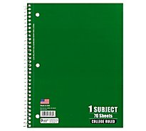 Top Flight Standards Notebook 1 Subject College Rule 70 Sheets - Each