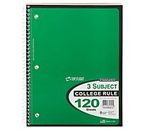 Top Flight Standards Notebook 3 Subject College Rule 120 Sheets - Each