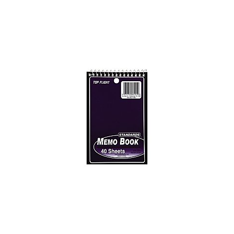 Top Flight Memo Book Top Wire 4 Inch x 6 Inch 40 Sheets Assorted Colors - Each