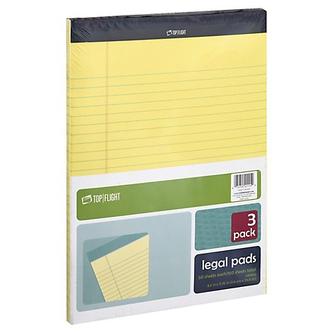 Top Flight Legal Pads Canary 8.5 Inch x11 Inch 50 Sheets - 3 Count