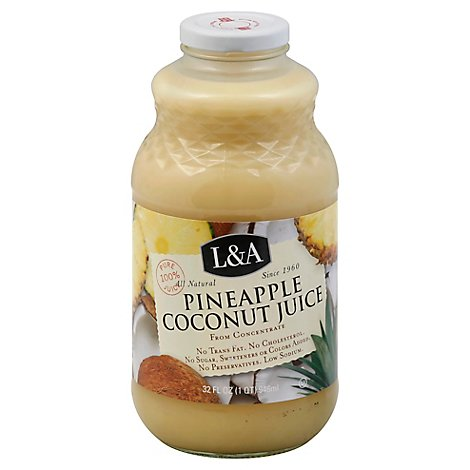 L&A Juice Pineapple Coconut - 32 Fl. Oz.