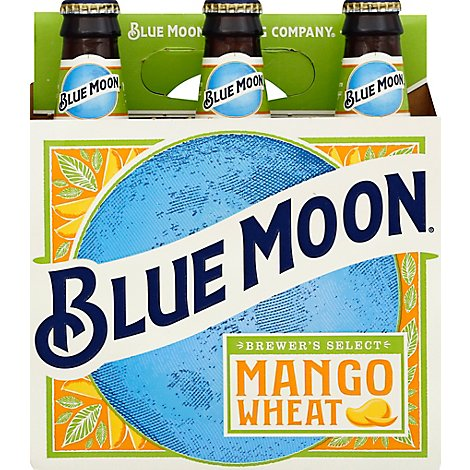 Blue Moon Mango Beer Craft Wheat 5.4% ABV Bottle - 6-12 Fl. Oz.