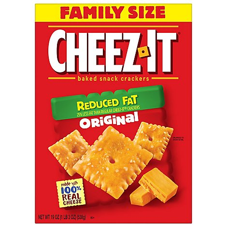 Cheez-It Baked Snack Cheese Crackers Reduced Fat Original Family Size - 19 Oz