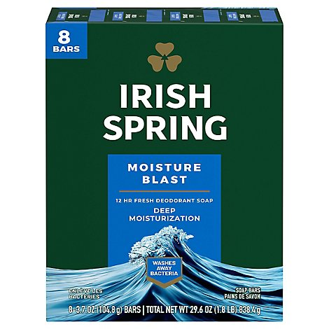 Irish Spring Deodorant Soap Bars Moisture Blast With Hydrobeads - 8-3.75 Oz