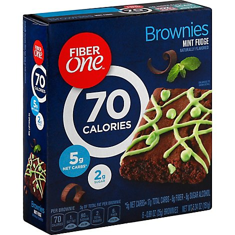 Fiber One Brownies 90 Calories Mint Fudge - 6-0.89 Oz