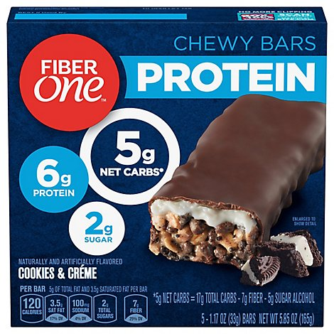 Fiber One Protein Chewy Bars Cookies & Creme - 5-1.17 Oz