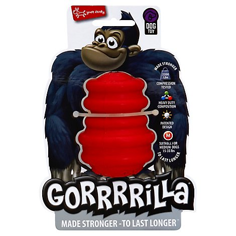 Yours Droolly Dog Toy Gorrrrilla Durable Rubber Medium Red Sleeve - Each