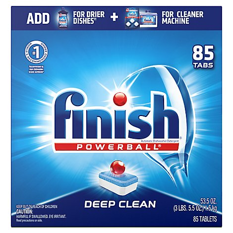 Finish Dishwasher Detergent Powerball All In 1 Deep Clean Tablets Fresh Scent 85 Count - 55.3 Oz